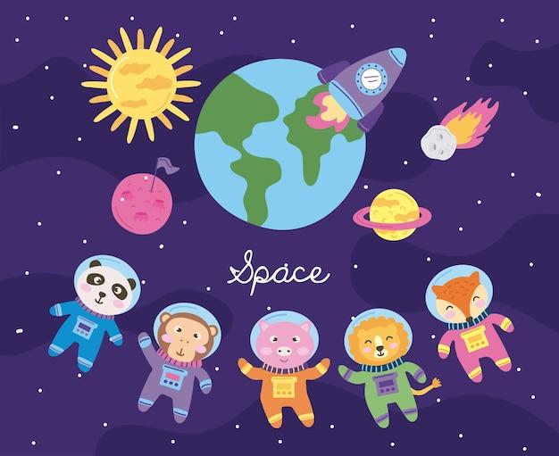 Ícones bonitos do espaço onze