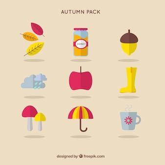 Ícones bonitos do outono embalar