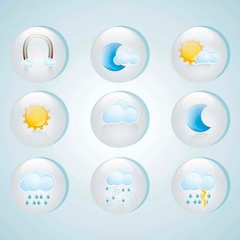 Ícones bonitos do tempo em círculos de vidro