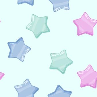 Ícones brilhantes de estrelas brilhantes coloridas dos desenhos animados.