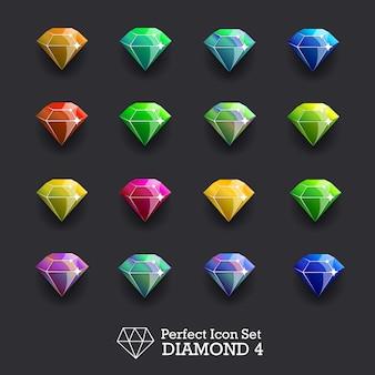 Ícones brilhantes pedras preciosas, diamantes