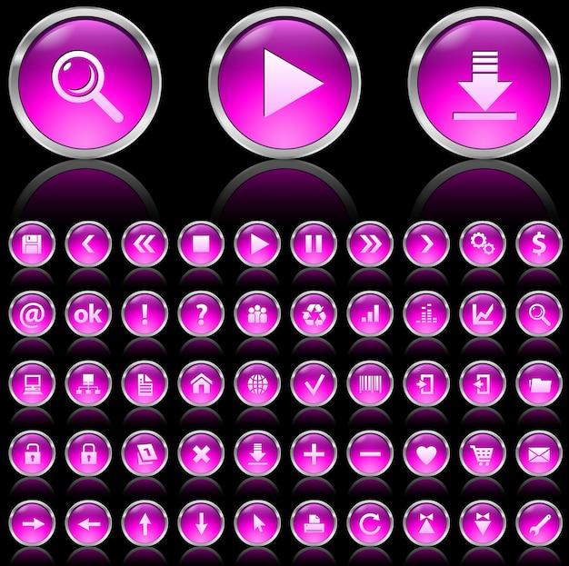 Ícones brilhantes violetas