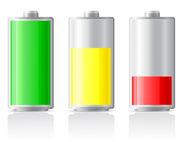 Ícones carregam bateria.