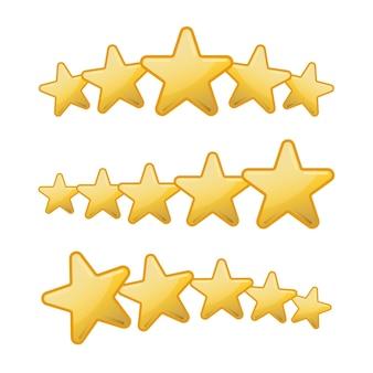 Ícones cinco estrelas definidos isolados no fundo branco, ilustração vetorial