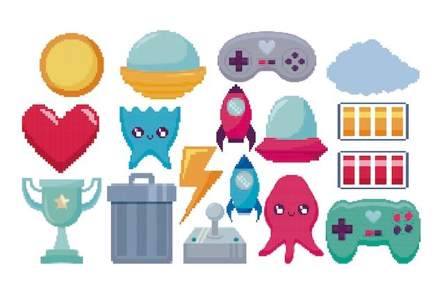 Ícones clássicos do jogo de videogame