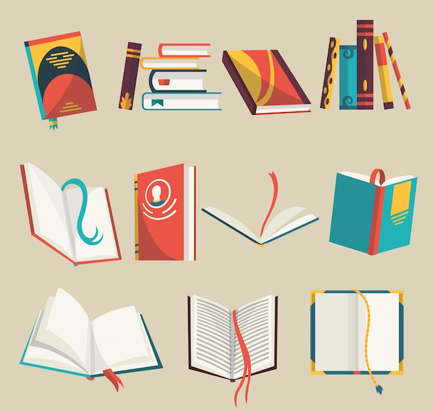 Ícones coloridos ajustados, ilustração dos livros. aprenda e estude. coleção com livros abertos e fechados. educação e conhecimento.