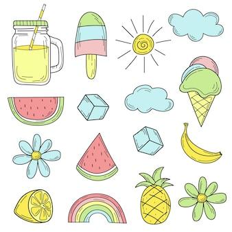 Ícones coloridos bonitos do verão. conjunto desenhado à mão de elementos de verão para design