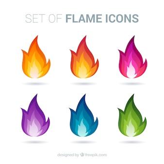 Ícones coloridos chama fogo