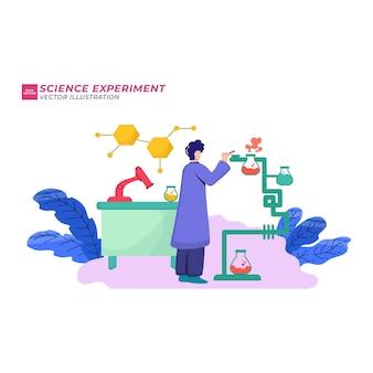 Ícones coloridos com funcionários do laboratório de ciências bioquímicas realizando vários experimentos.