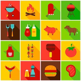 Ícones coloridos de comida de churrasco. ilustração vetorial. conjunto de itens retângulo plano com sombra longa.