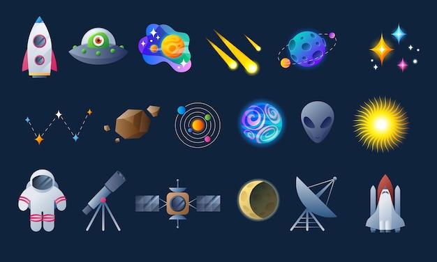 Ícones coloridos de espaço e astronomia