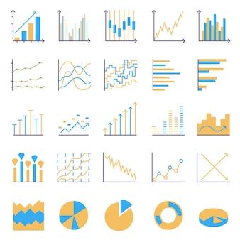 Ícones coloridos de estatísticas. conjunto de elementos lineares da web. gráfico simples, gráfico de pizza, gráfico de colunas. ilustração vetorial de linha fina
