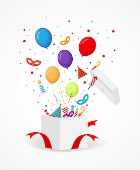 Ícones coloridos de festa e confetes voando a caixa