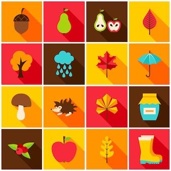 Ícones coloridos de outono. ilustração vetorial. conjunto de itens sazonais de outono.