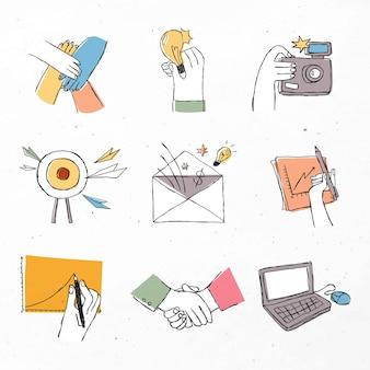 Ícones coloridos de trabalho em equipe com conjunto de design de arte doodle