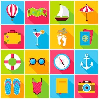 Ícones coloridos de verão. ilustração vetorial. conjunto de itens de viagem retângulo plano com sombra longa.