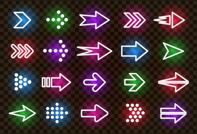 Ícones coloridos de vetor de setas de néon para a direita definem ponteiros brilhantes realistas em fundo transparente