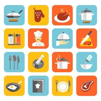 Ícones coloridos do alimento