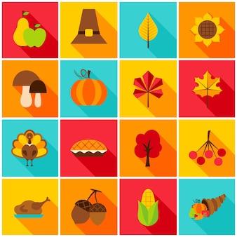 Ícones coloridos do dia de ação de graças. ilustração vetorial. conjunto de objetos de férias sazonais.