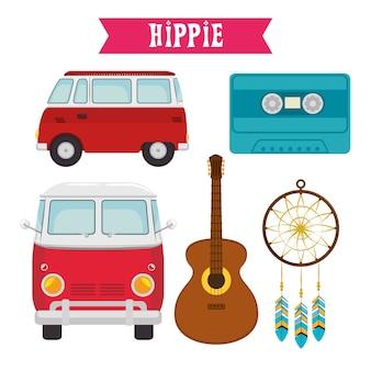 Ícones coloridos do hippie