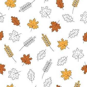 Ícones coloridos e preto e branco de folhas desenhadas à mão com textura perfeita
