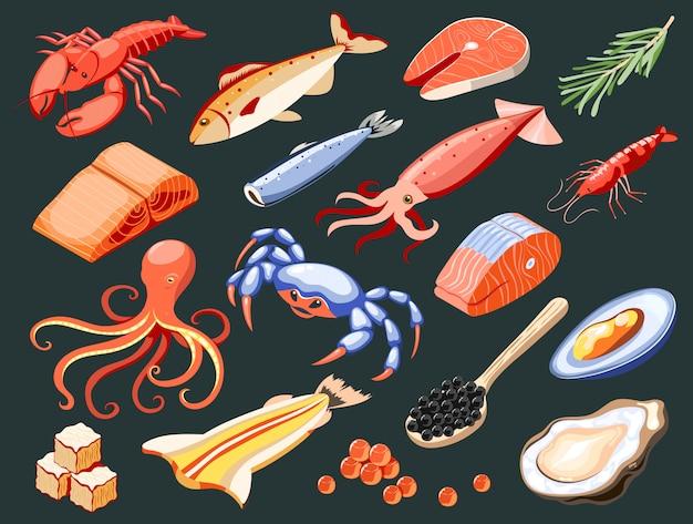 Ícones coloridos isométricos isolados de frutos do mar com salmão filé lula caviar mexilhões caranguejos ostras tubarão carne ilustração