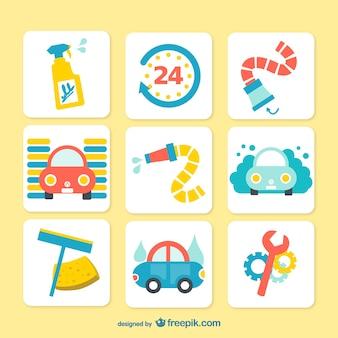 Ícones coloridos lavagem de carro