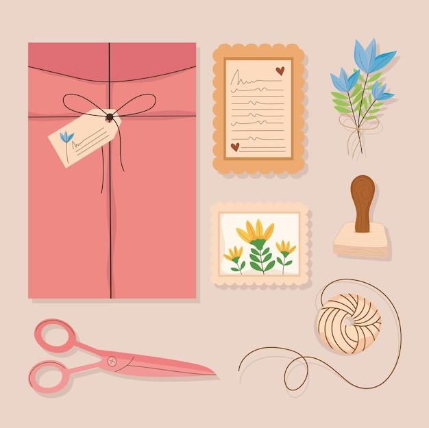 Ícones com envelope e cartões postais