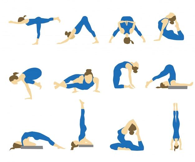 Ícones com garota em asanas de ioga.