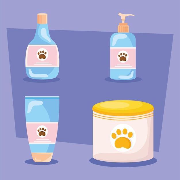 Ícones com produtos de higiene para cães