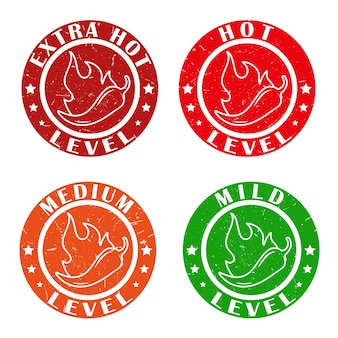 Ícones com selos de níveis de especiarias de pimenta malagueta com chama de fogo para embalar adesivos de molho de comida picante