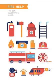 Ícones conceptuais do vetor da ajuda do fogo ajustados.