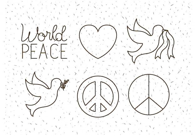 Ícones conjunto de paz mundial
