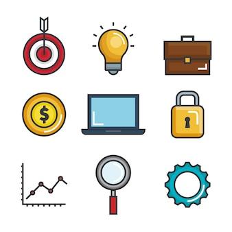 Ícones conjunto de sucesso de negócios