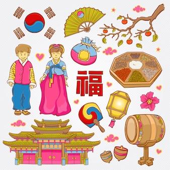 Ícones coreanos de natureza e cultura doodle conjunto ilustração vetorial