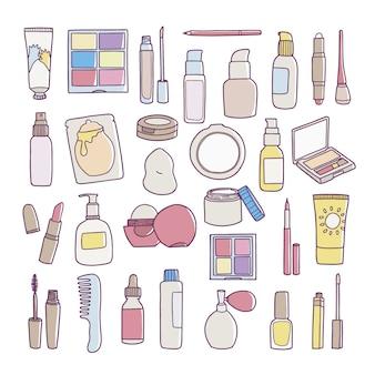 Ícones cosméticos desenhados à mão