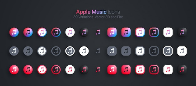 Ícones da apple music definidos em 3d moderno e plano em diferentes variações
