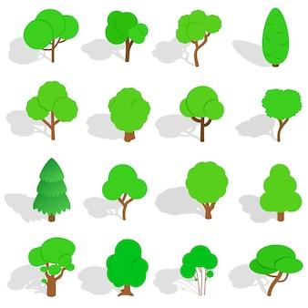 Ícones da árvore no estilo 3d isométrico. parque conjunto ilustração vetorial isolado