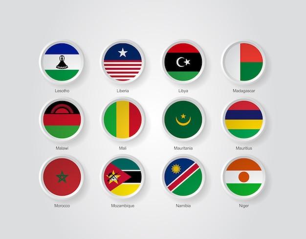 Ícones da bandeira 3d de países da áfrica, parte 03