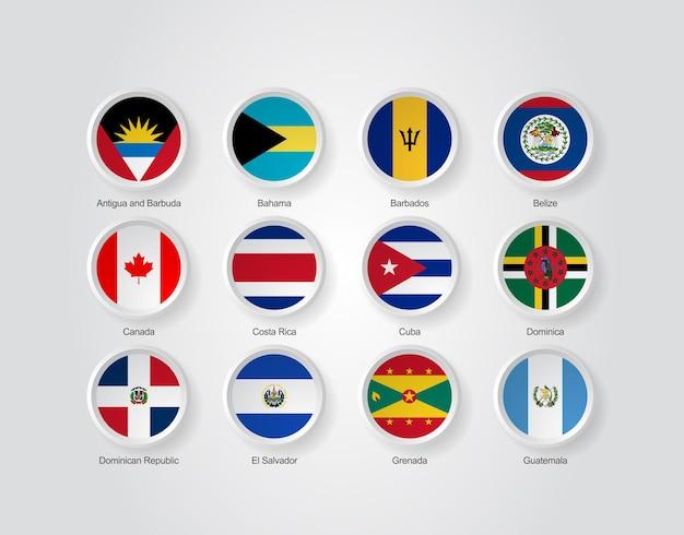 Ícones da bandeira 3d dos países da américa do norte, parte 01