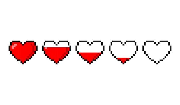 Ícones da barra de vida do coração de saúde de 8 bits de jogo de pixel. controlador de jogo