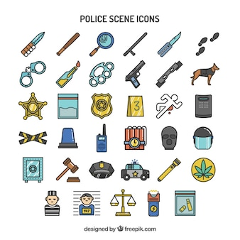ícones da cena da polícia