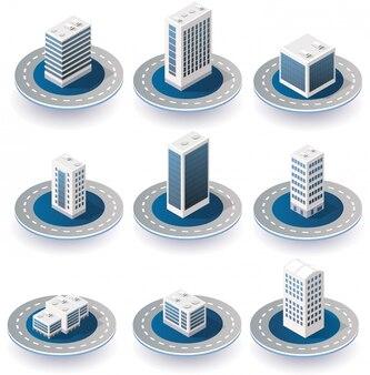 Ícones da cidade isométrica
