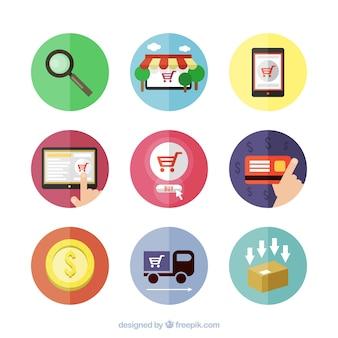 Ícones da compra on-line