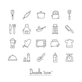 Ícones da cozinha doodle.