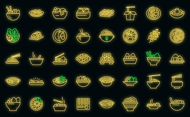 Ícones da culinária coreana com néon vetorial