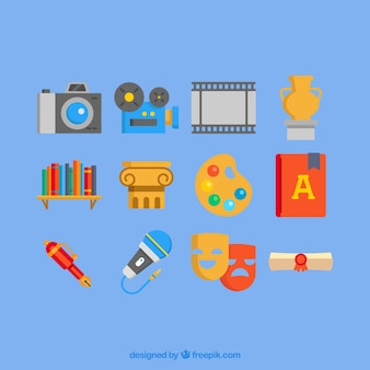 Ícones da cultura coloridos em design plano