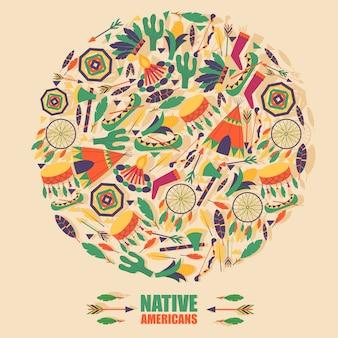 Ícones da cultura nativa americana na composição do quadro redondo