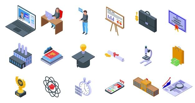 Ícones da escola de negócios definir vetor isométrico. aprenda com o treinamento. aprendizagem universitária