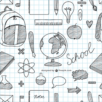 Ícones da escola desenhada à mão vetor